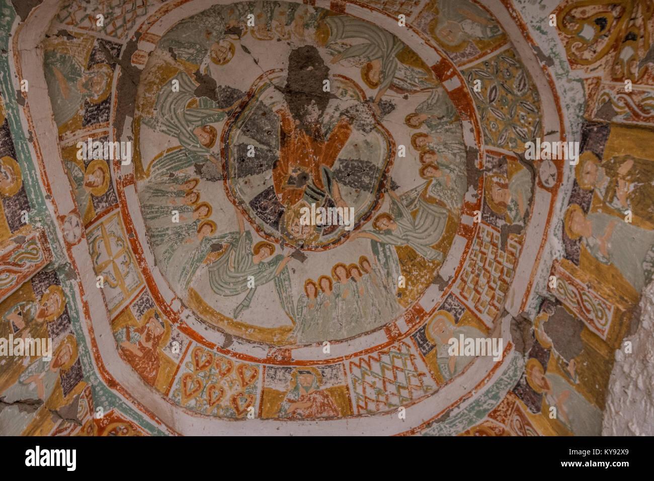 View inside Cave church in Cappadocia - Stock Image