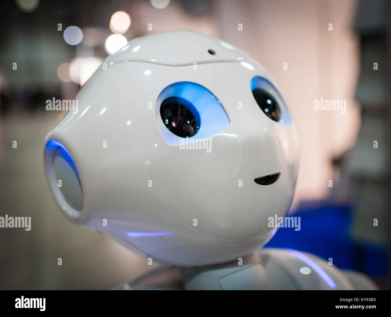 Lucerne, Switzerland - 2 Dec 2017: Humanoid robot 'Pepper', demonstrated at the Swiss Handicap fair in Lucerne, - Stock Image
