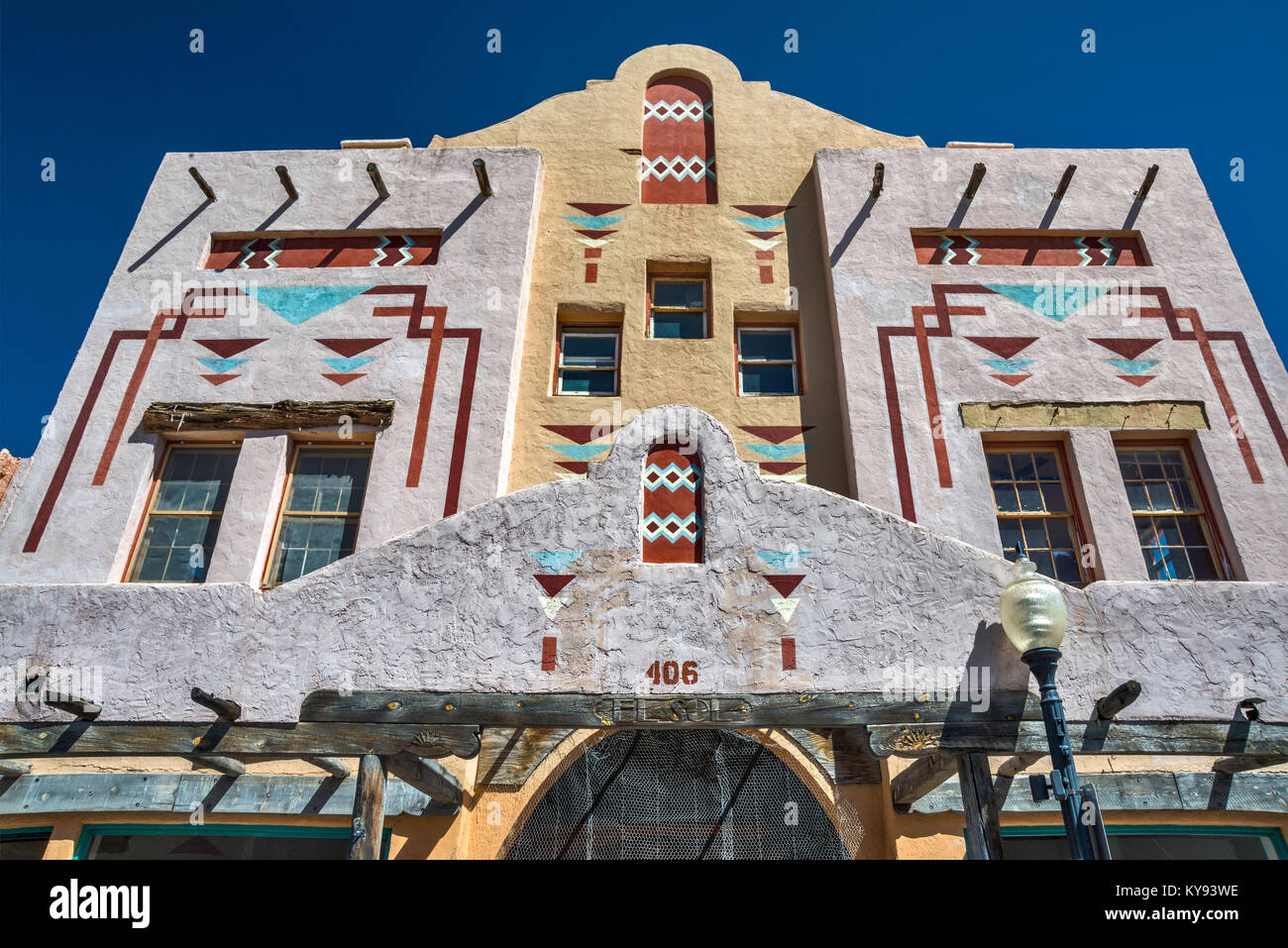 El Sol Theatre, historic cinema building with motifs inspired by Indian designs at Bullard Street in Silver City, - Stock Image