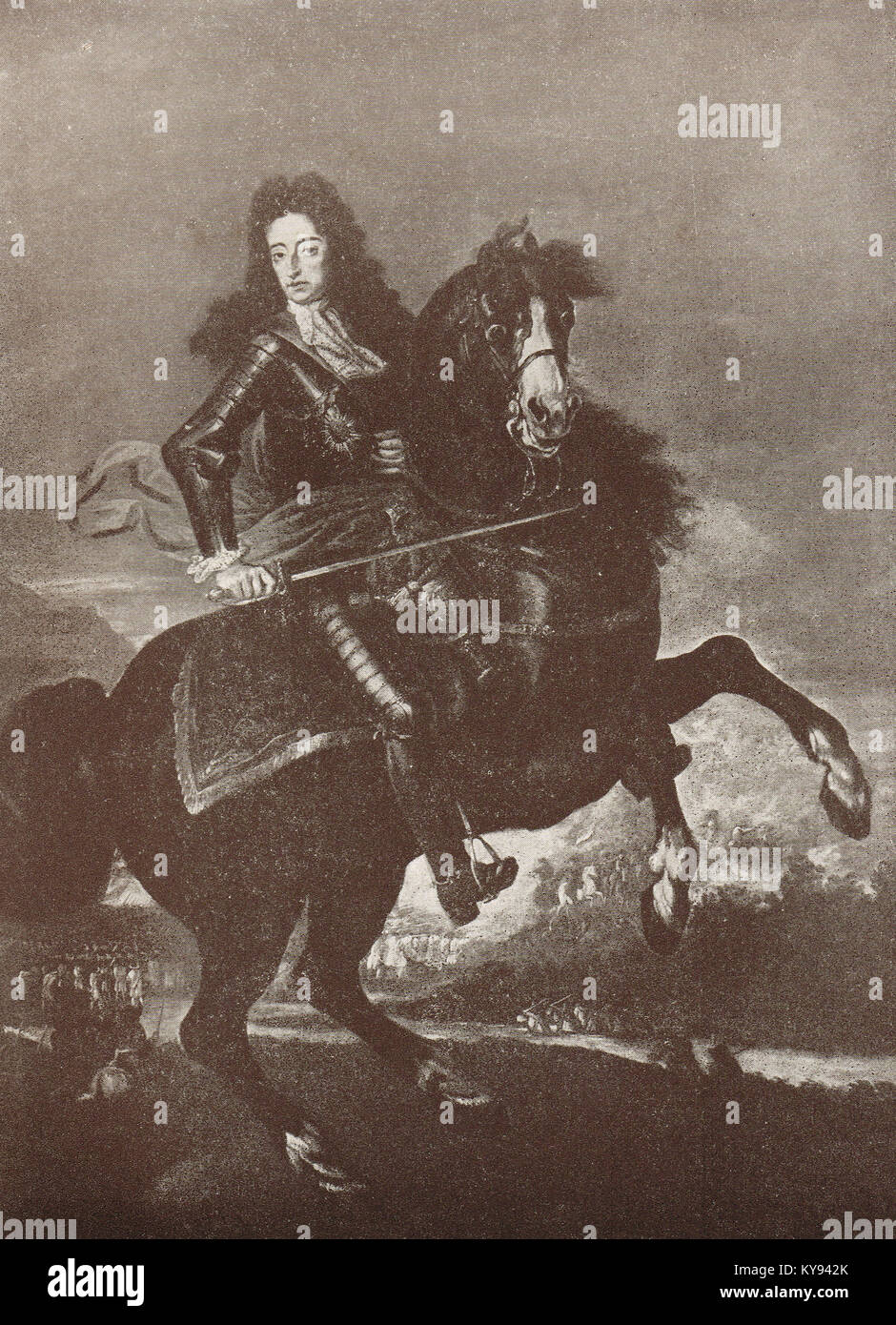 King William III of England on horseback at the Battle of the Boyne 1690 - Stock Image