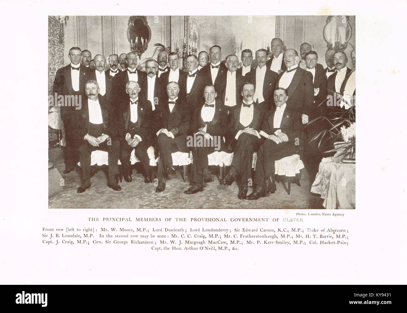 The principal members of the Provisional Government of Ulster, 1913 - Stock Image