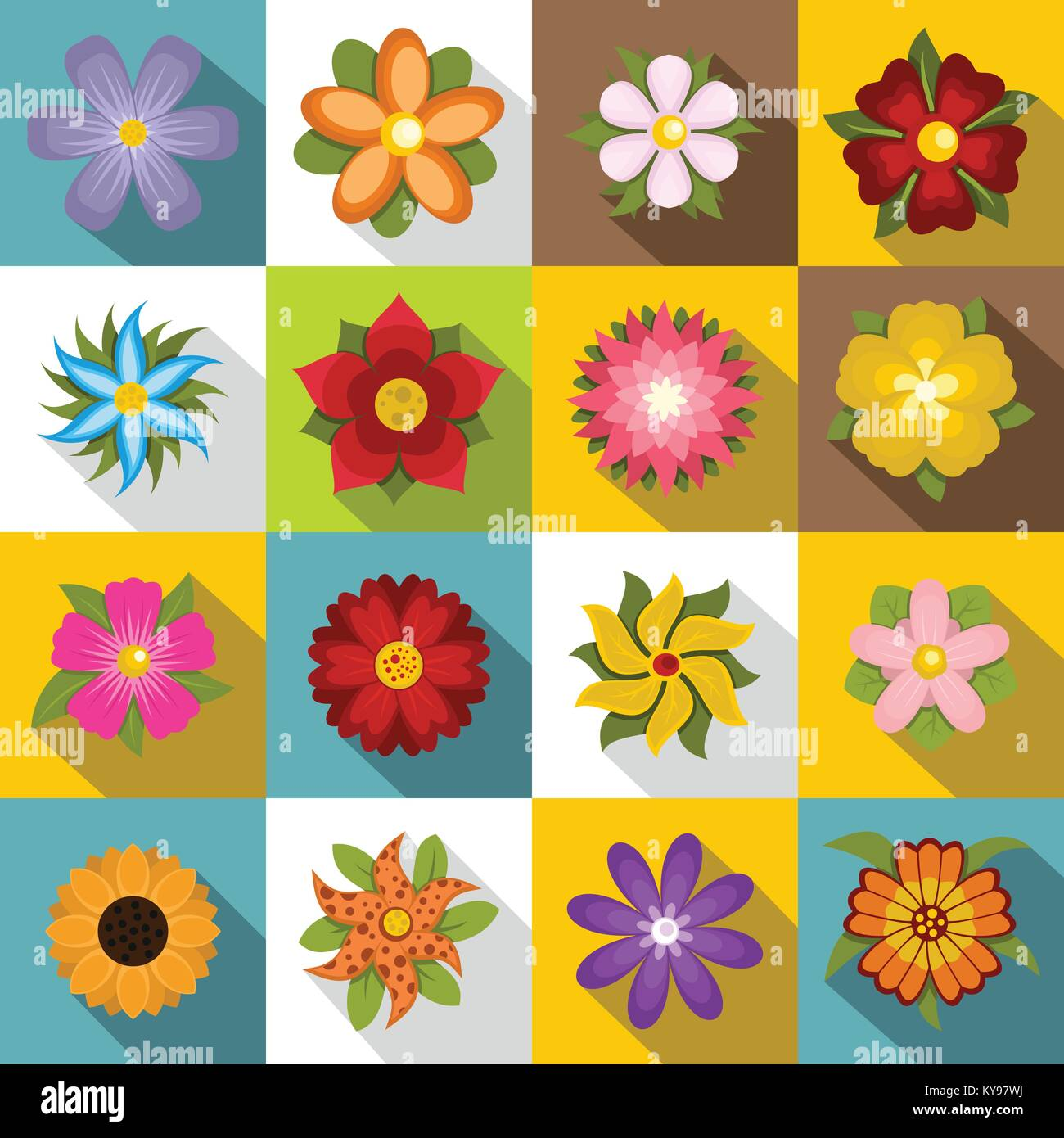Different flowers icons set. Flat illustration of 16 different flowers vector icons for web - Stock Image