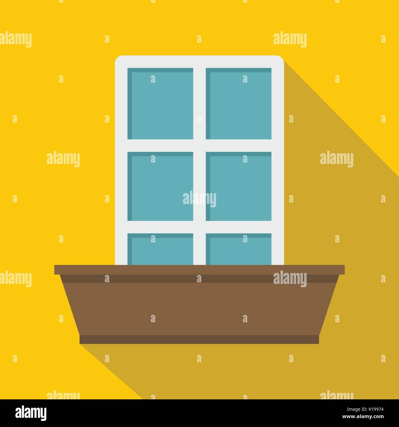 White window and flower box icon. Flat illustration of white window ...