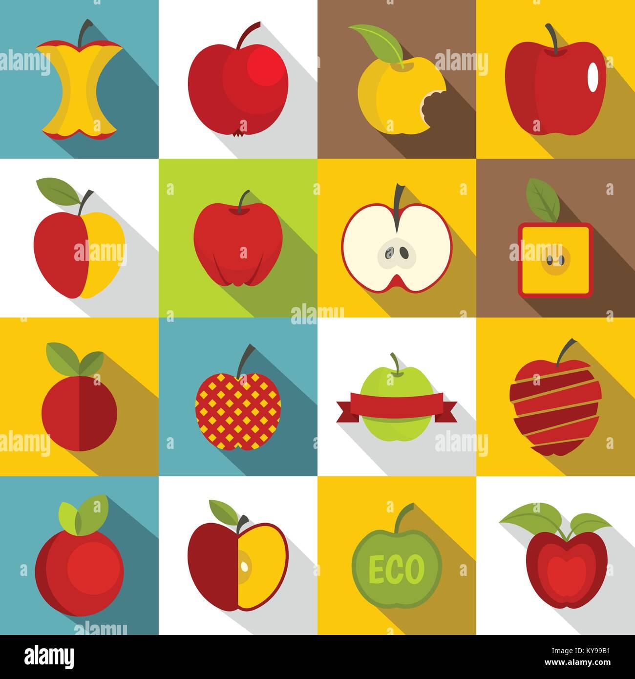 Apple icons set design logo  Flat illustration of 16 apple design