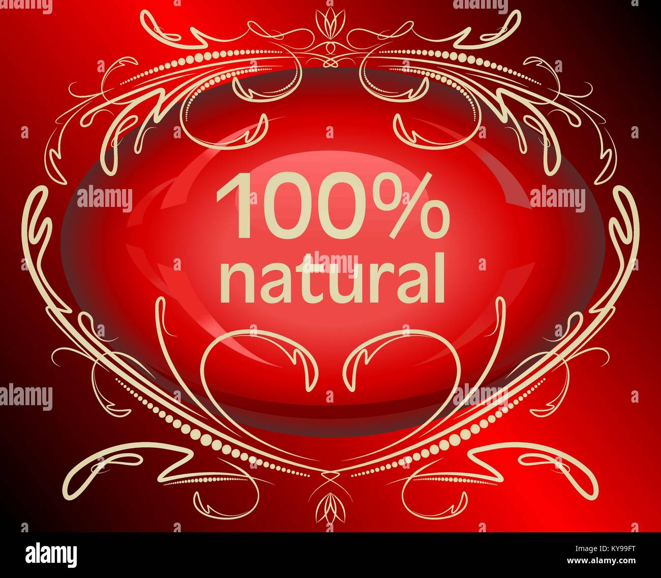 Abstrct red label 100% natural Stock Vector