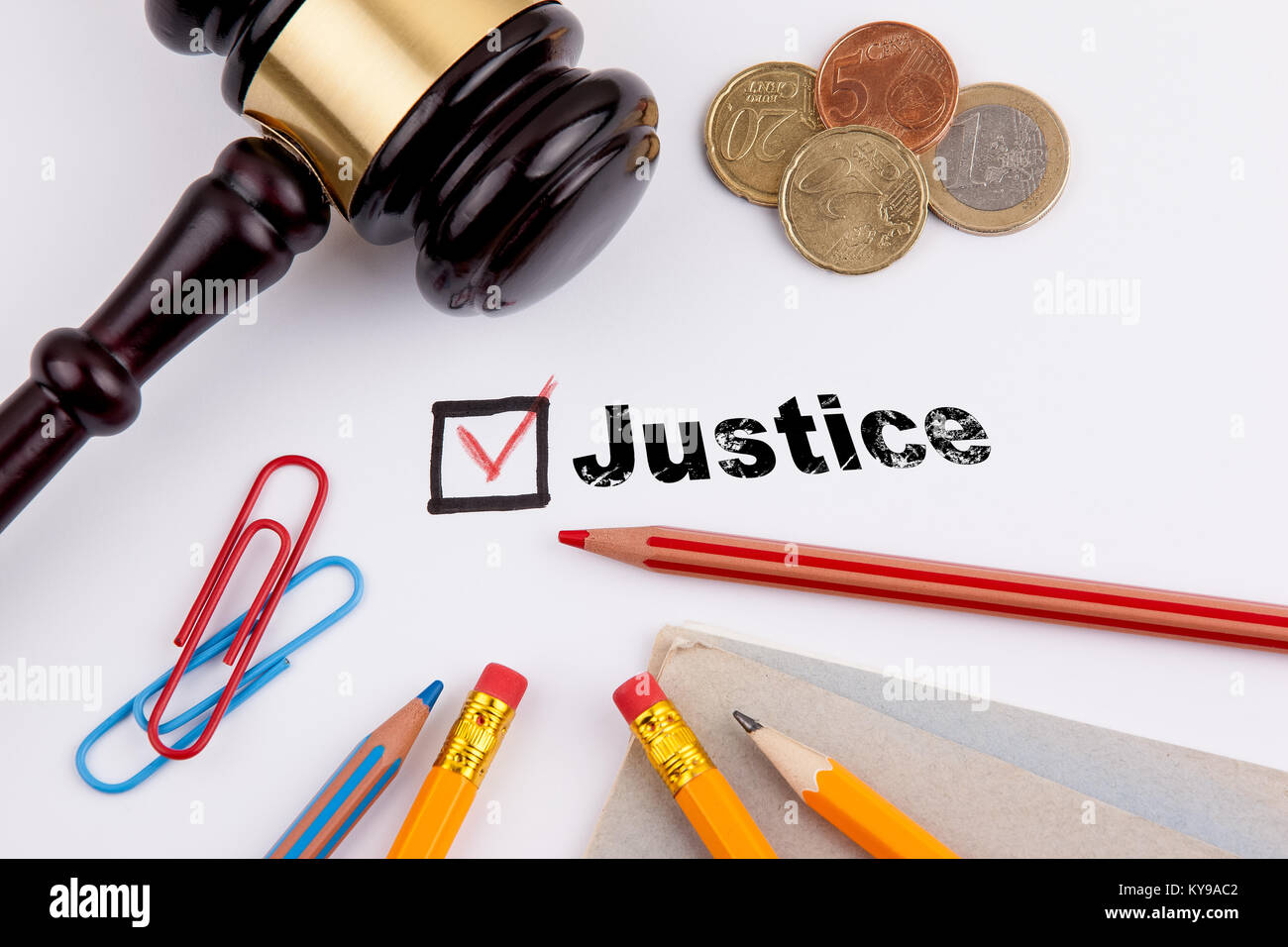 Justice. Questionnaire with red cross on the white paper - Stock Image