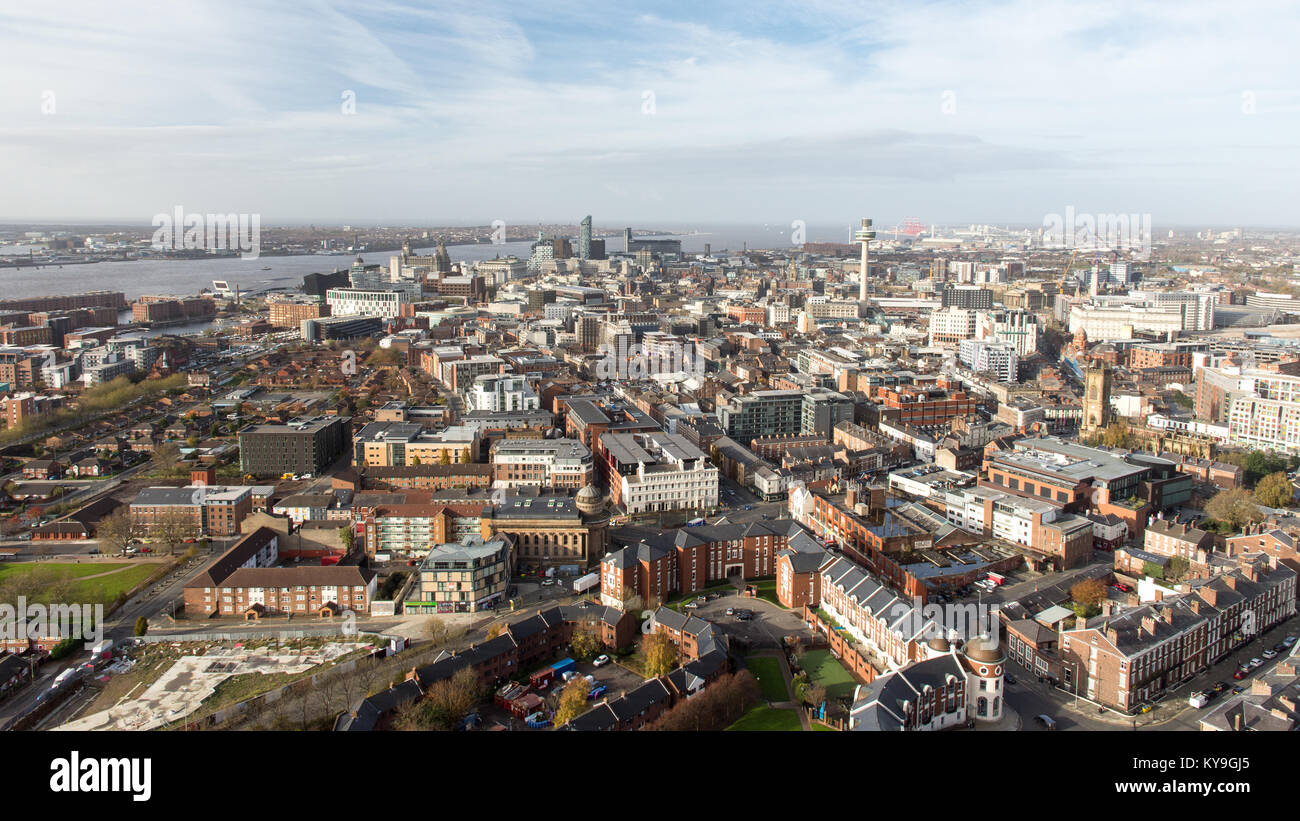 Liverpool, England, UK - November 9, 2017:  The cityscape of Liverpool's central business district. - Stock Image