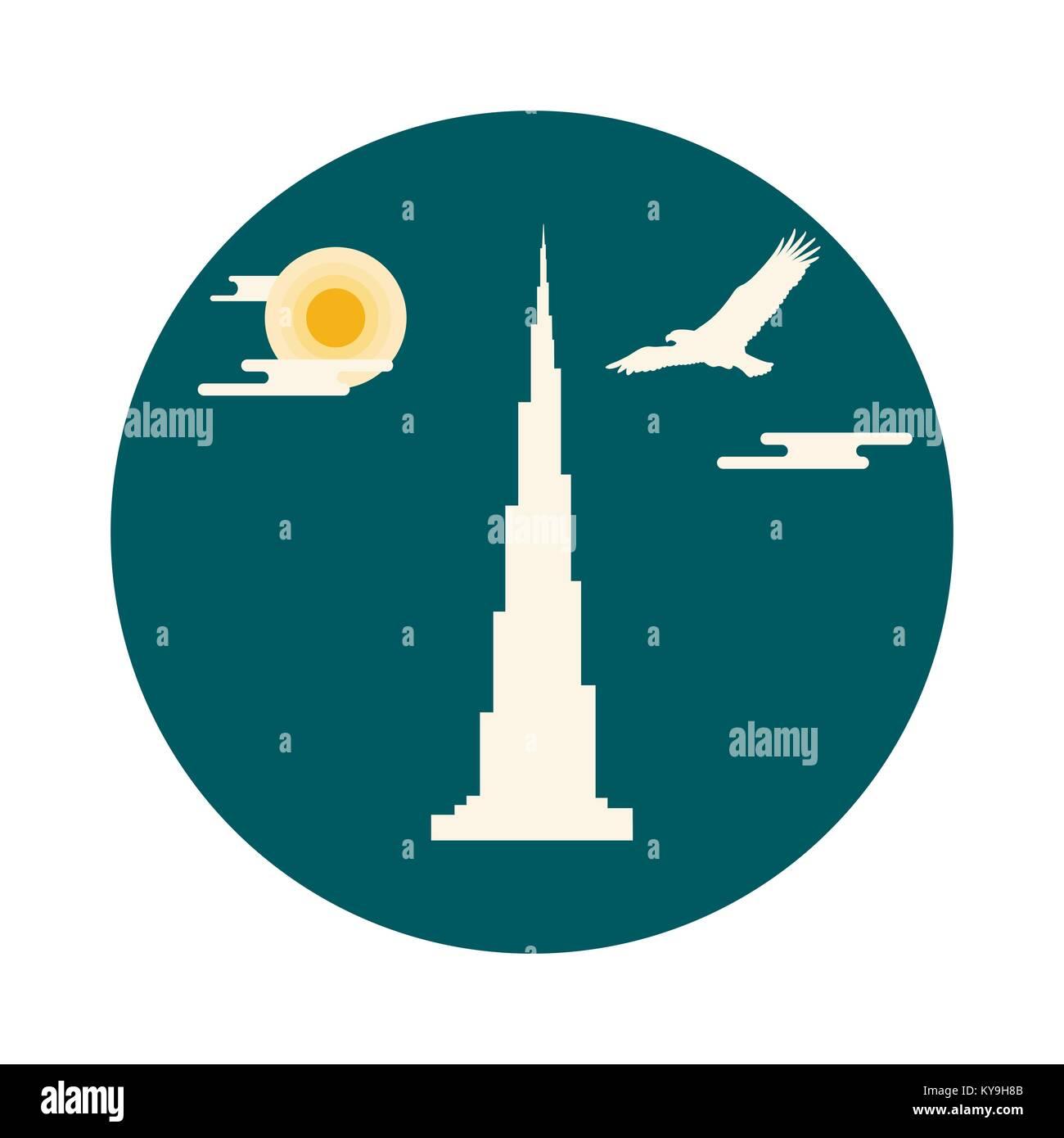 United Arab Emirates skyscraper silhouette. Dubai famous building and soaring falcon. Design for banner, poster - Stock Image