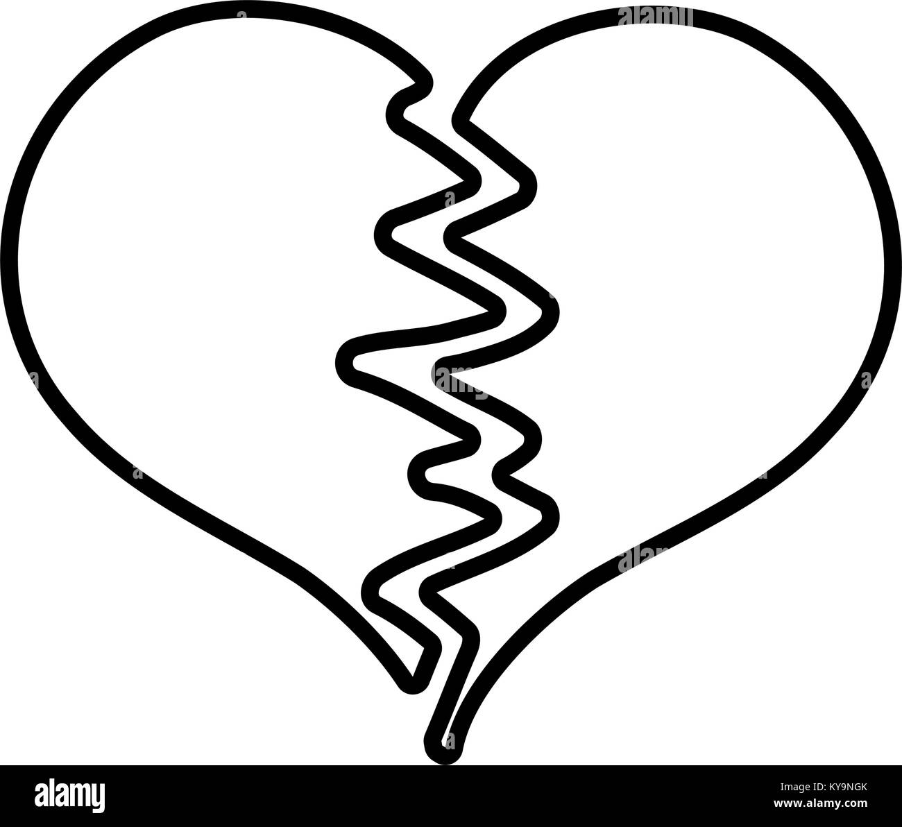 Broken Heart Symbol Black And White Stock Photos Images Alamy