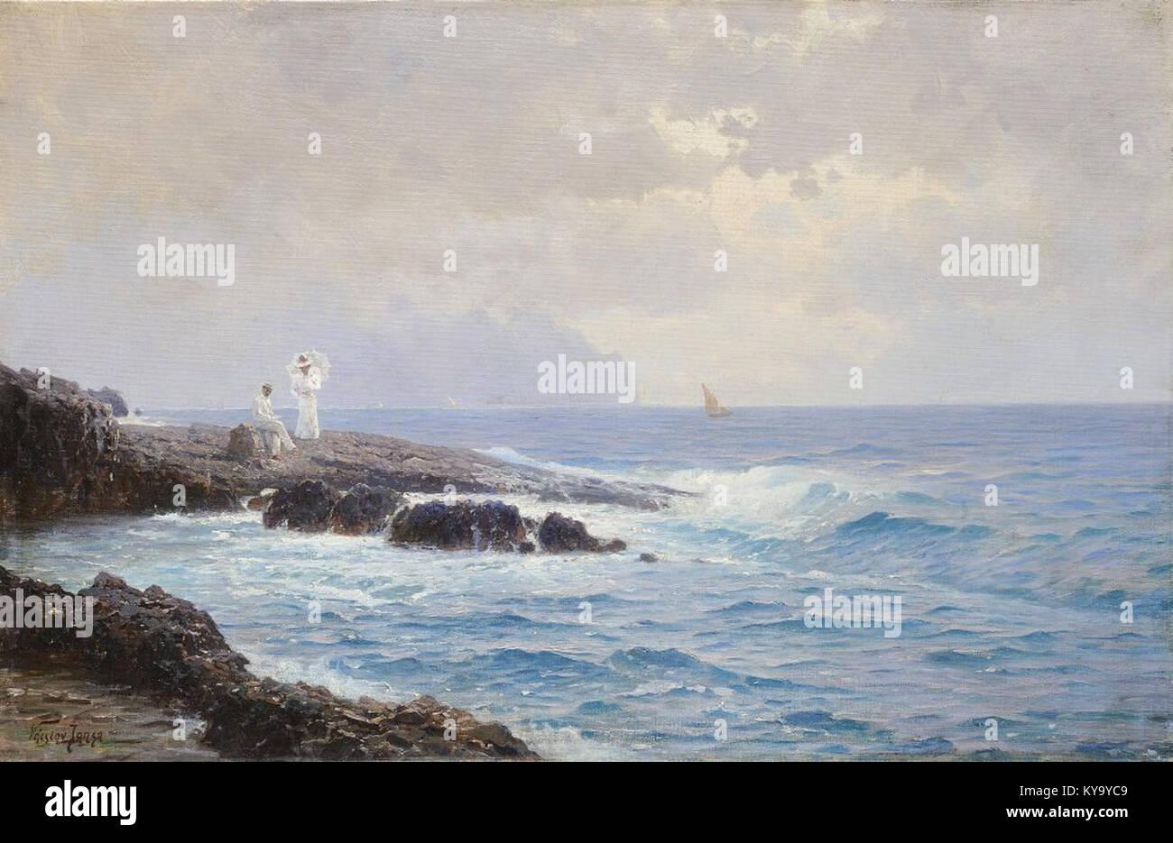 Václav Jansa (1859-1913) - Milenci u moře - Stock Image