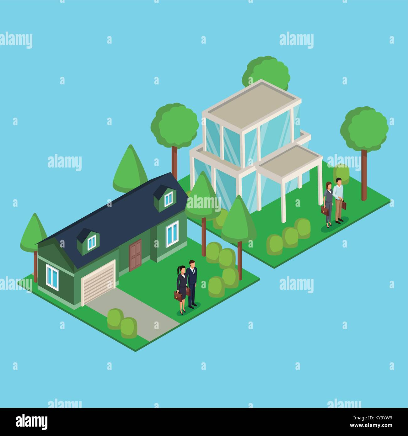 Business couple real estate 3d - Stock Vector