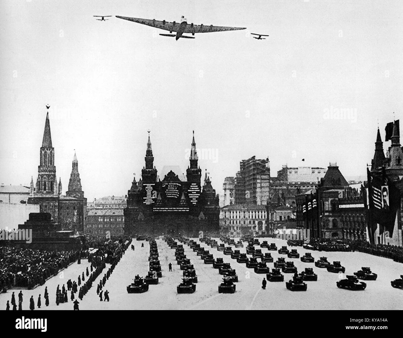 Tupolev ANT-20 'Maxim Gorky' overflying Red Square, Moscow - Stock Image