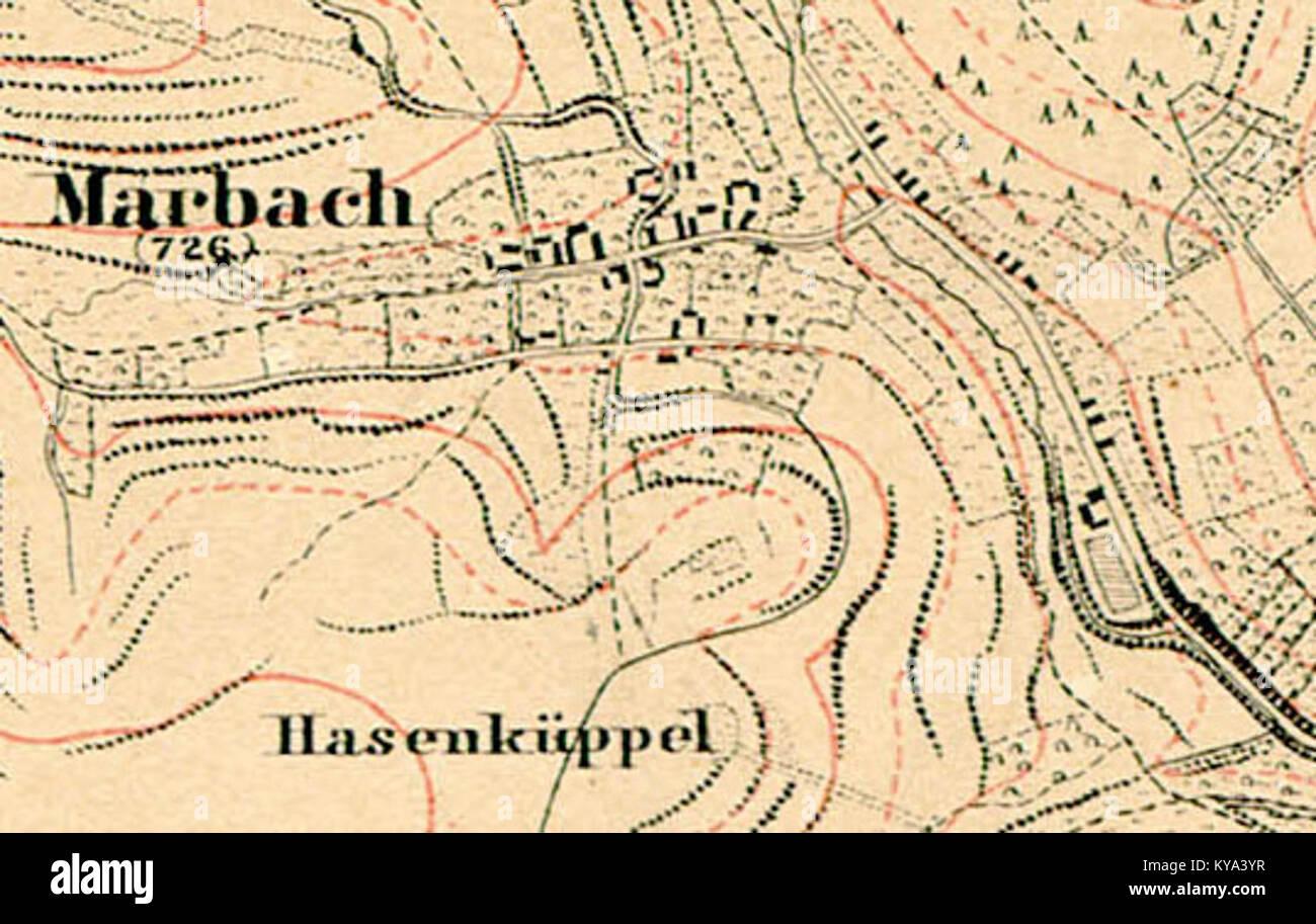 Topografische Karte Marbach Marburg 1857 Stock Photo 171711675