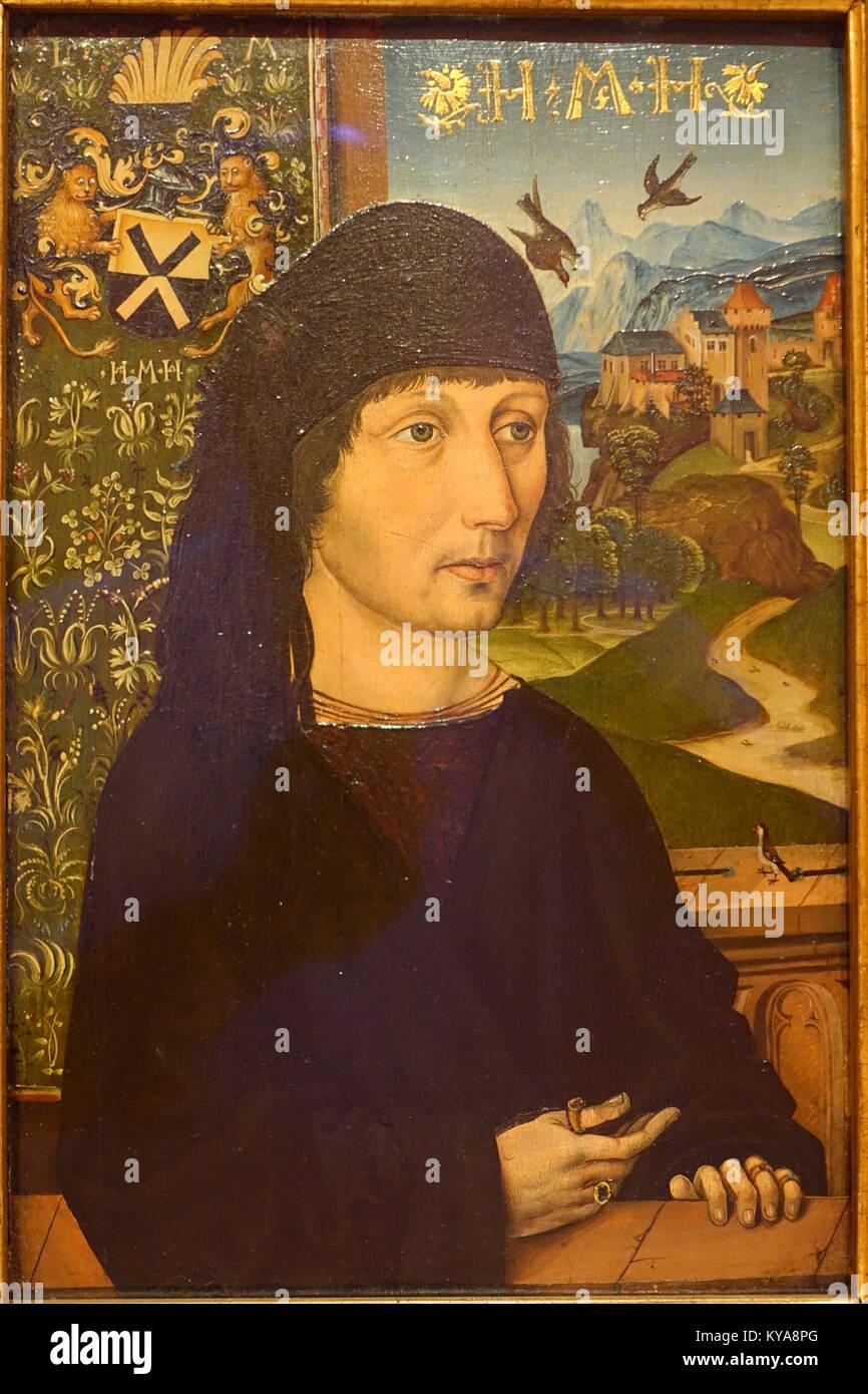 Portrait of Levinus Memminger by Michael Wolgemut, c. 1485 AD, oil on wood - Museo Nacional Centro de Arte Reina - Stock Image
