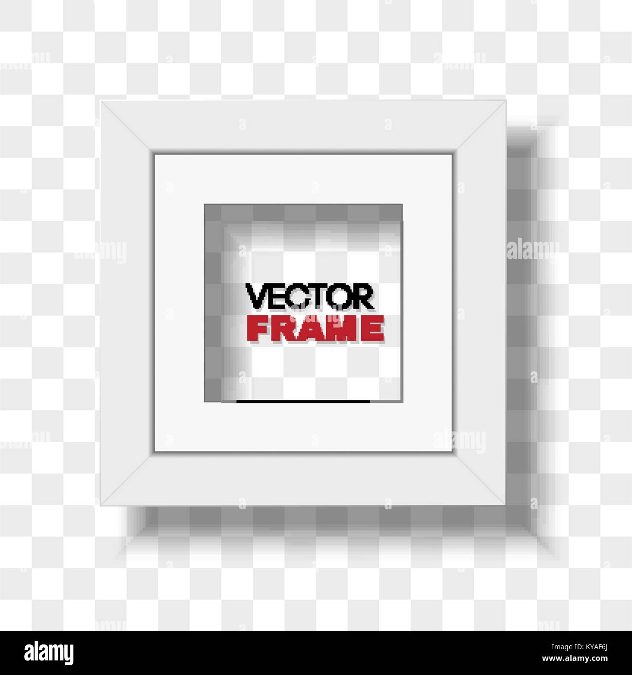 Square white picture frame with passepartout on transparent Stock ...