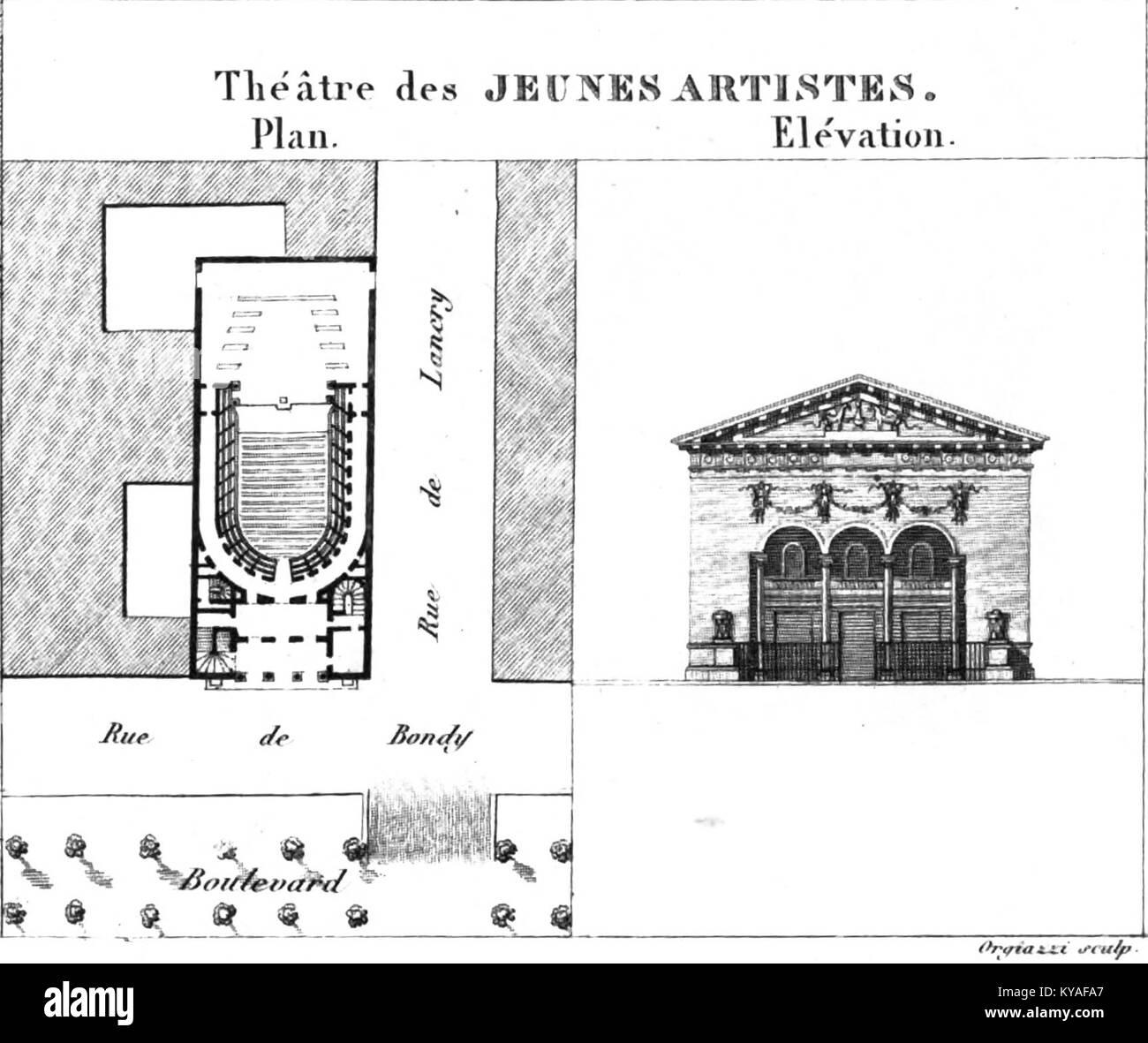 Théâtre des Jeunes Artistes - Kaufmann 1837 plate5 - Stock Image