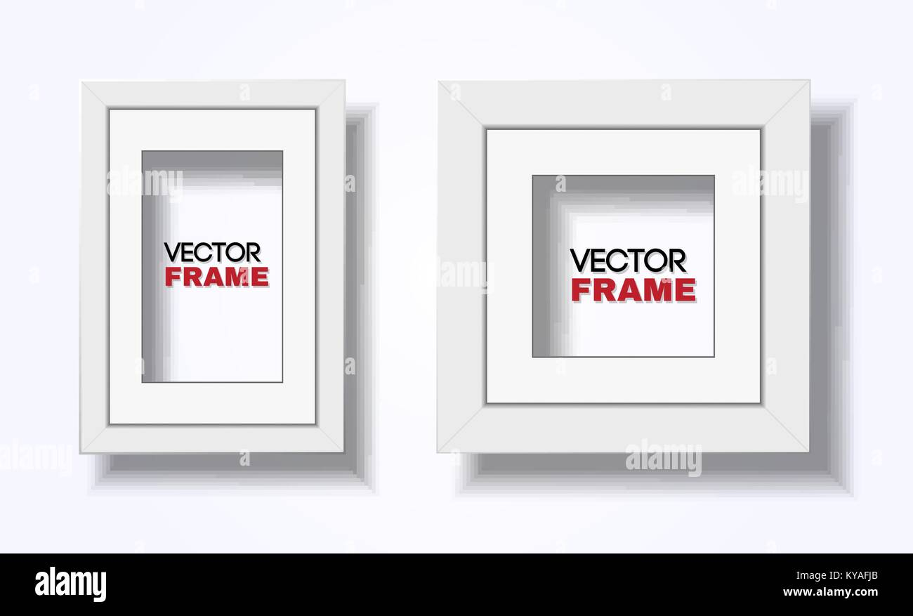 Set of two modern white frames hanged on wall - rectangular a4 and square, vector mockup - Stock Image