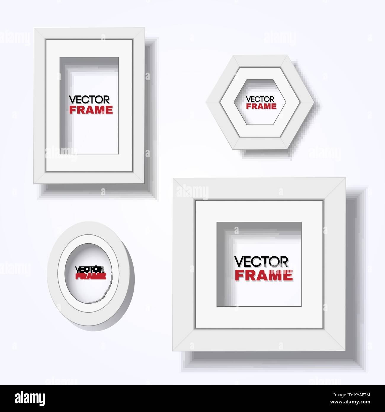 Set of realistic modern white certificate frames hanging on wall - A4, square, oval, and hexagonal shapes - Stock Image