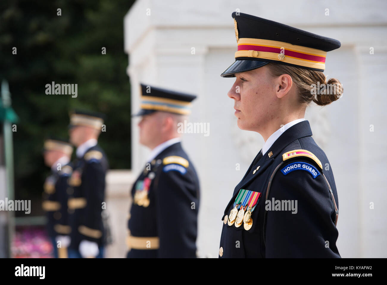 Wreath laying at the Tomb of the Unknown Soldier in Arlington National Cemetery for the Army's 241st Birthday (30533438373) - Stock Image
