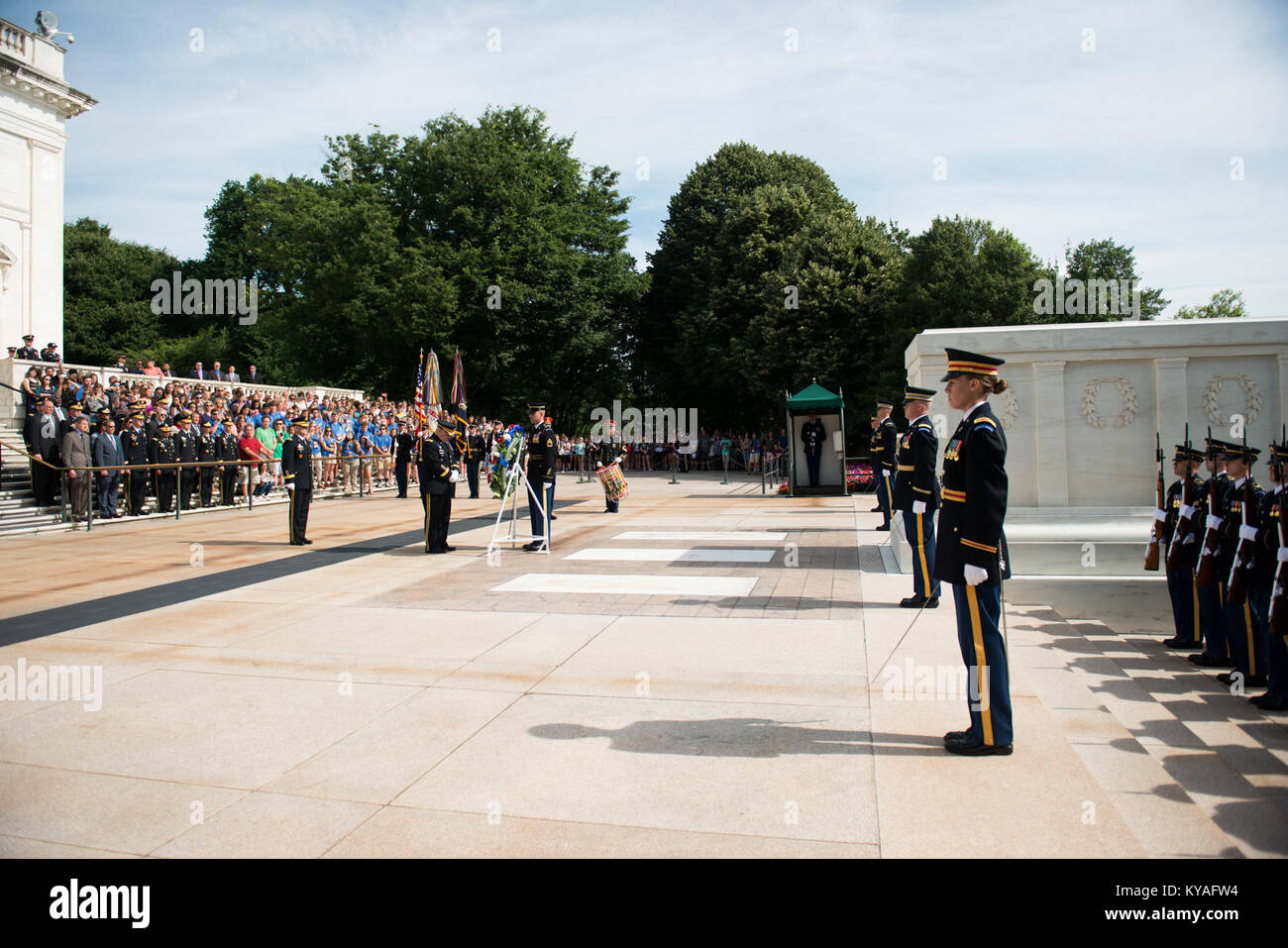 Wreath laying at the Tomb of the Unknown Soldier in Arlington National Cemetery for the Army's 241st Birthday (27635351306) - Stock Image