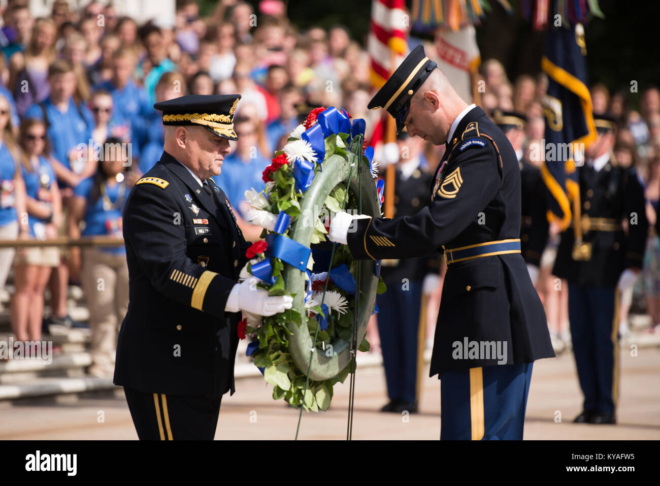 Wreath laying at the Tomb of the Unknown Soldier in Arlington National Cemetery for the Army's 241st Birthday (27392145000) - Stock Image