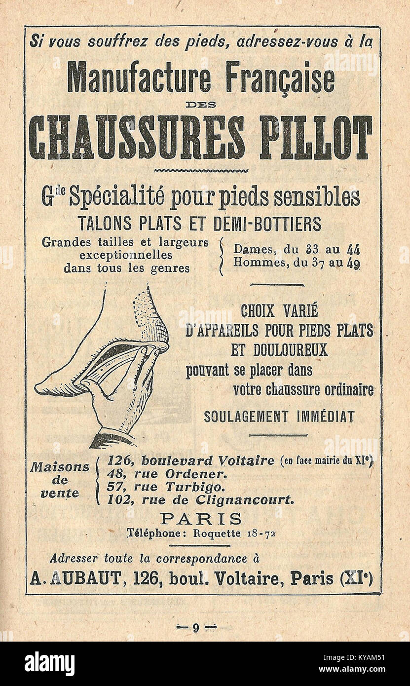 Réclame Chaussures Pillot-1921 - Stock Image