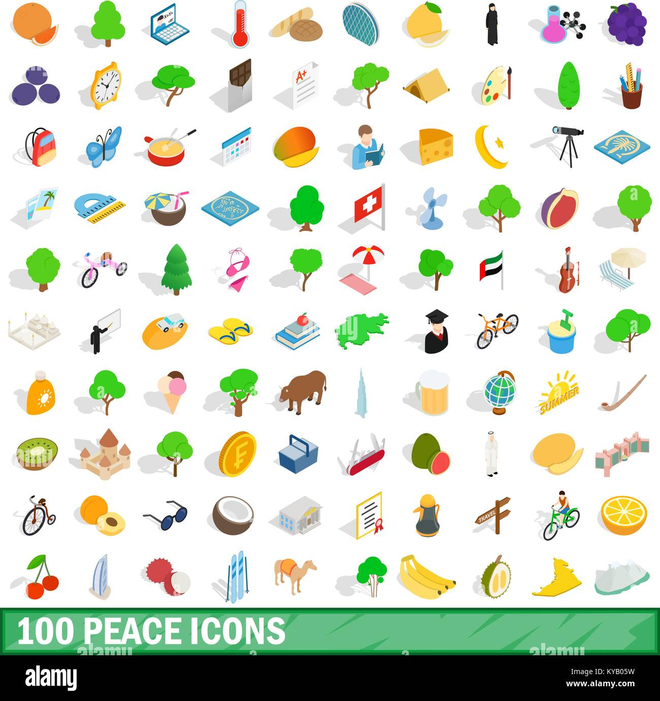 100 peace icons set in isometric 3d style for any design vector illustration Stock Vector