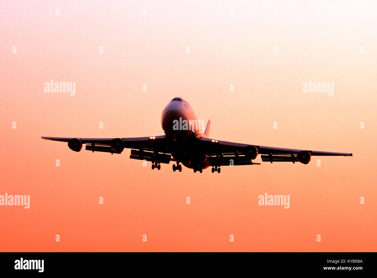 Aircraft on final approach at Heathrow, England, U;K. - Stock Image