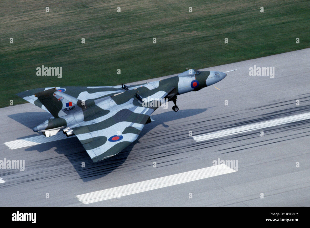 RAF Vulcan B2 aircraft on touch down at Toronto International airport, Canada - Stock Image
