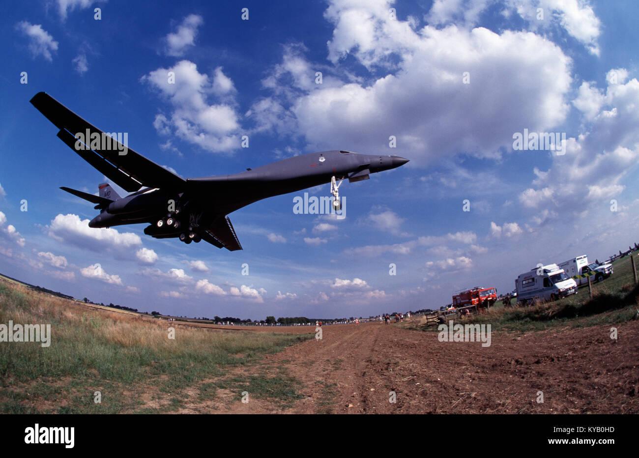 USAF B1 Bomber on final approach at Cottesmore, Rutland, England, U.K. - Stock Image