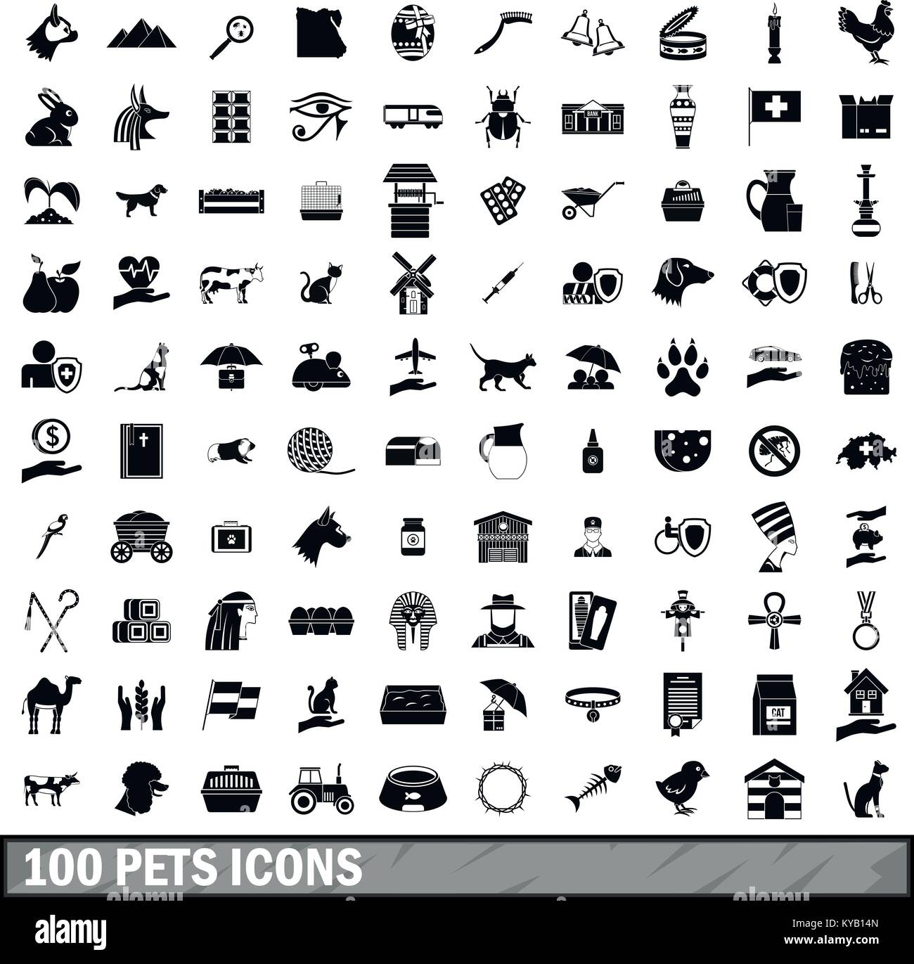 100 pets icons set in simple style for any design vector illustration - Stock Image