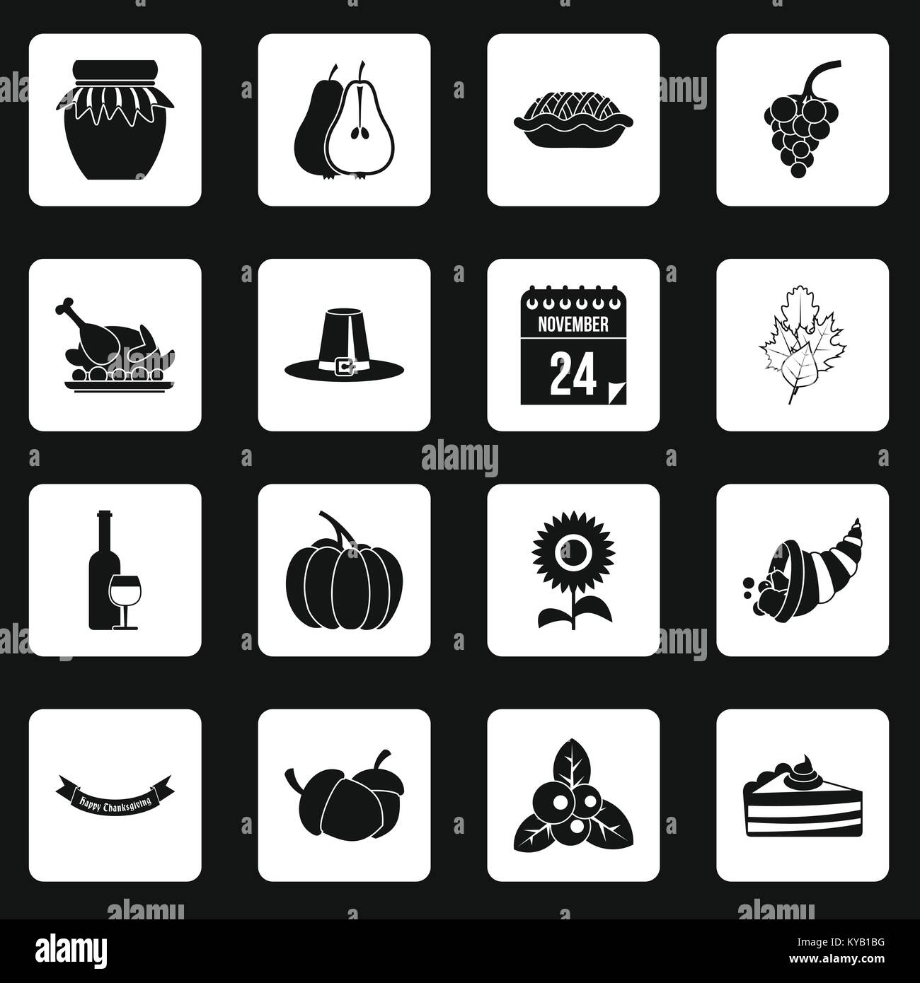 Thanksgiving icons set in white squares on black background simple style vector illustration Stock Vector