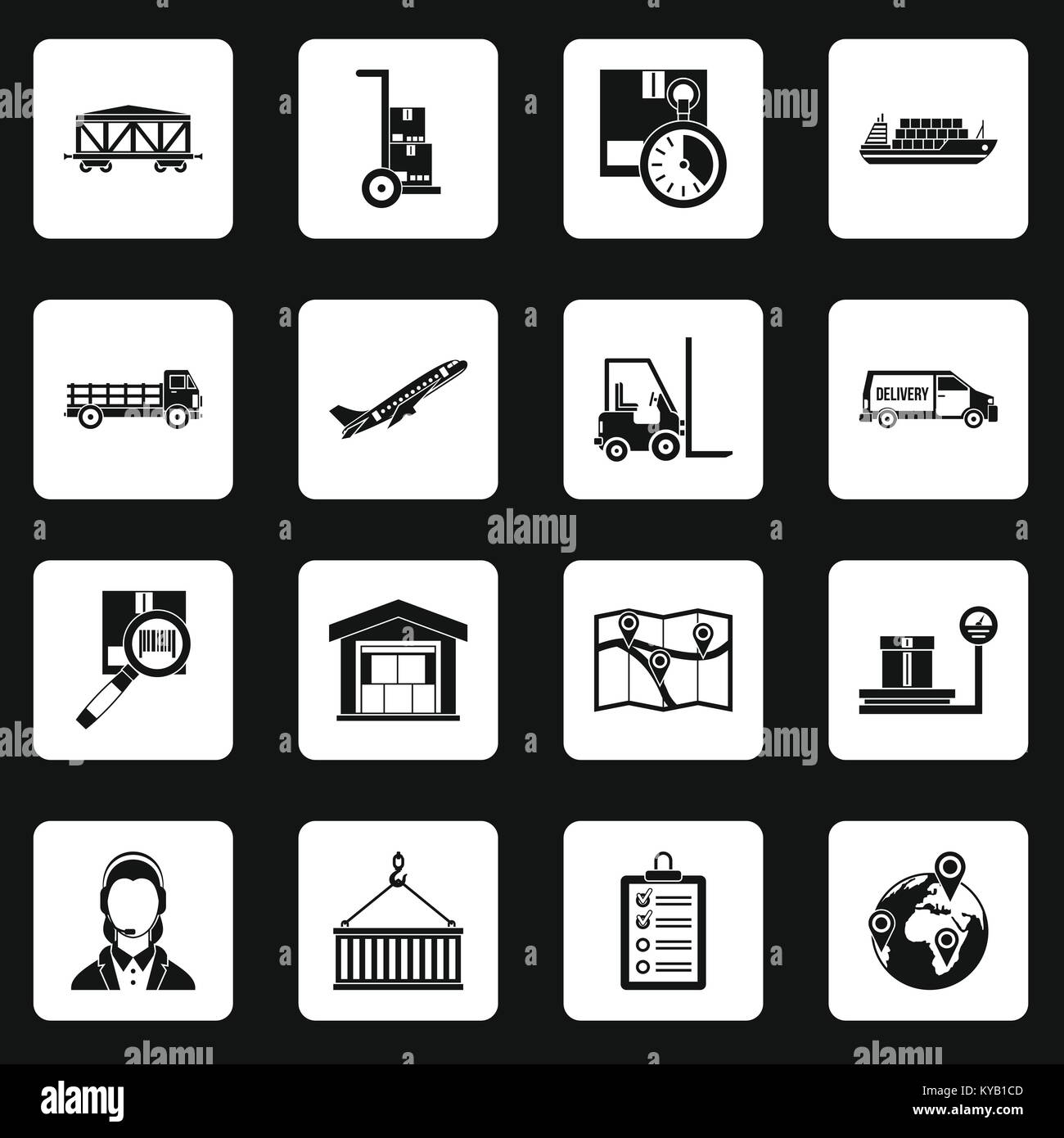 Logistic icons set in white squares on black background simple style vector illustration Stock Vector