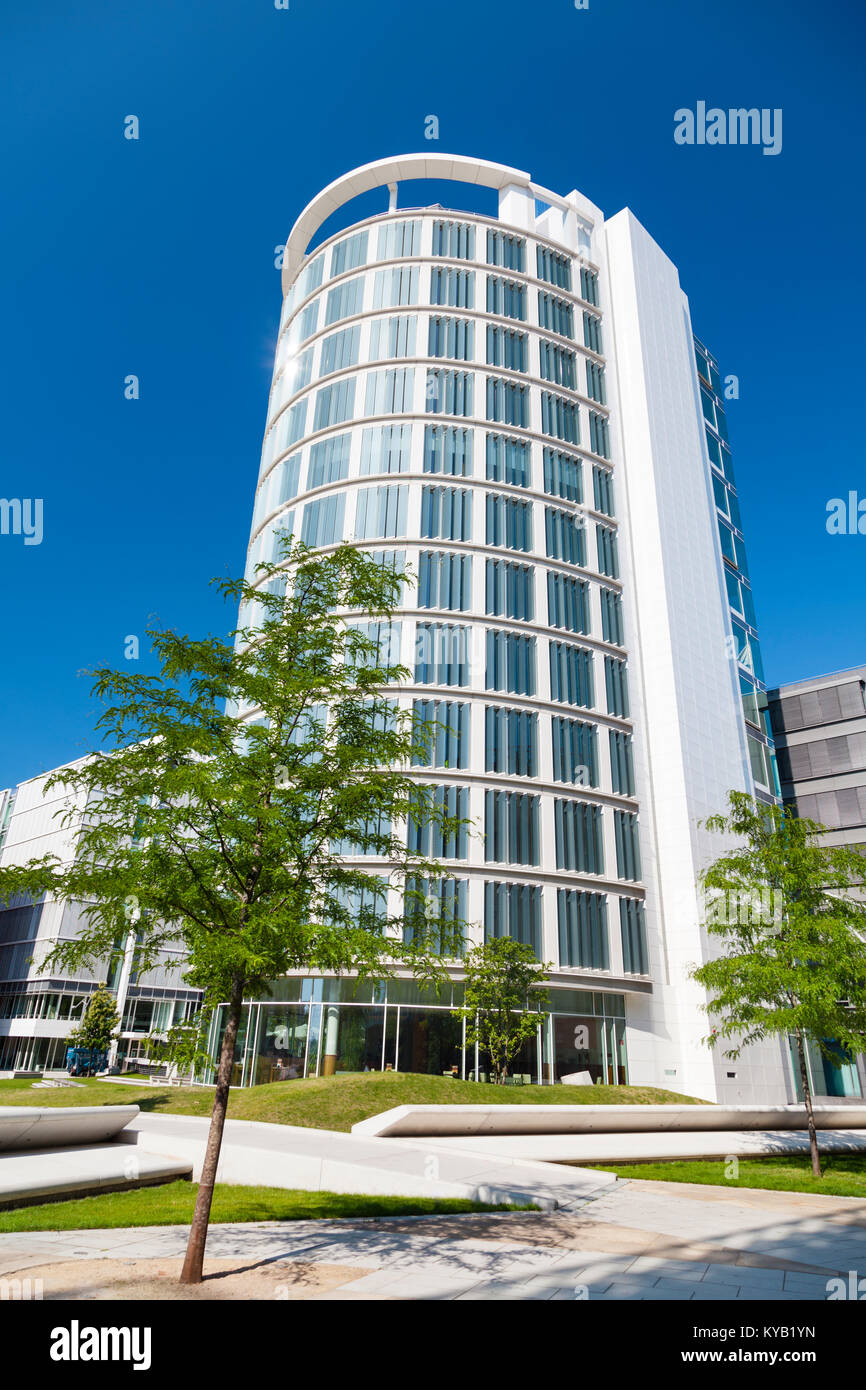 Modern white office building in the Hafen City in Hamburg, Germany. - Stock Image