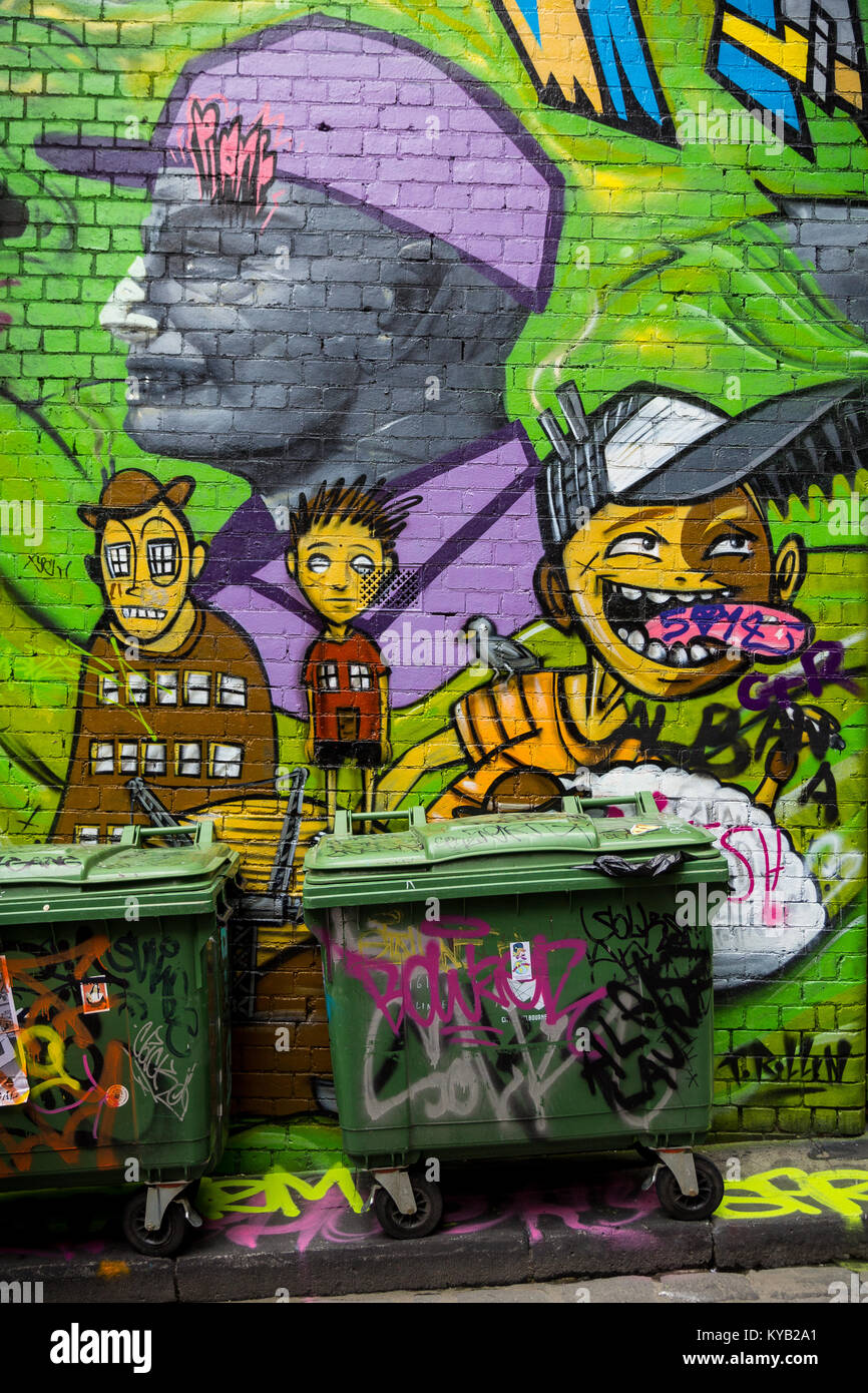 Street art in Hosier Lane in Melbourne. Stock Photo