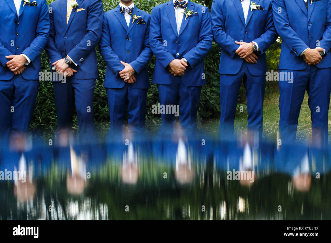 The groomsman in blue suits stand in a row. Stock Photo