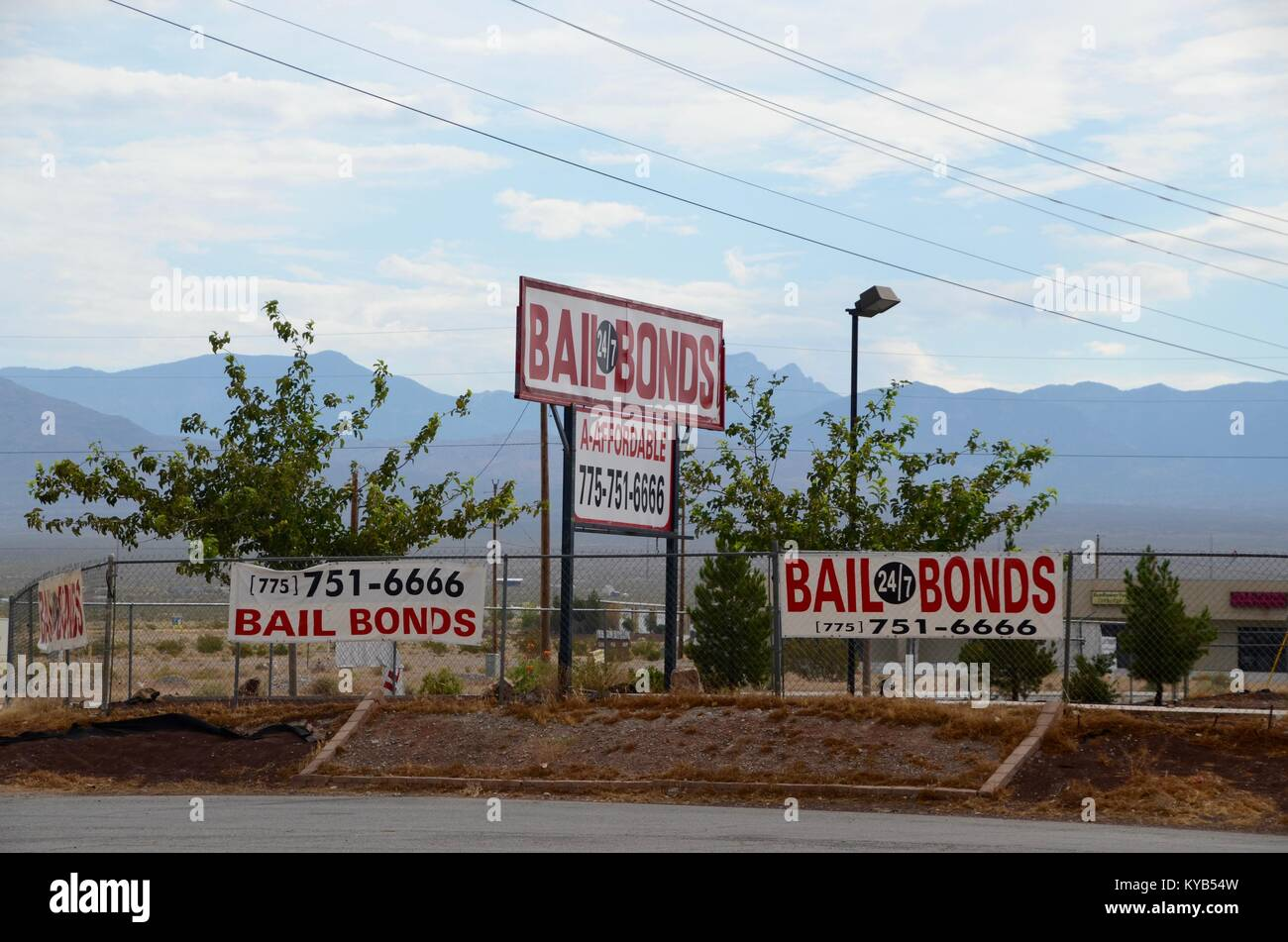 a bail bonds service advertised on signs in nevada USA - Stock Image
