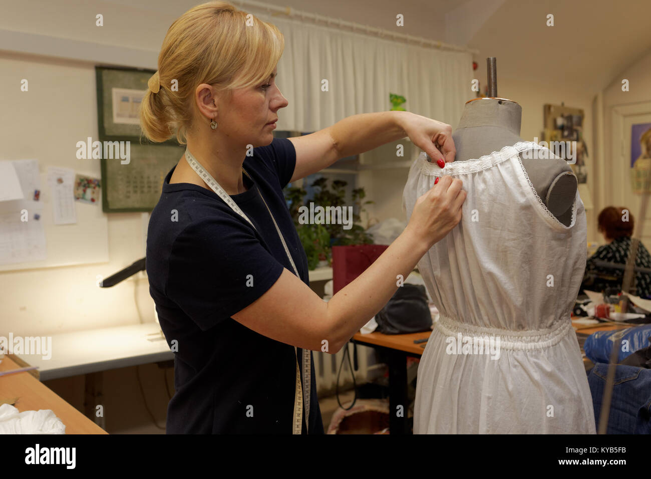 Apparel cutter at work in the Alexandrinsky theatre, St. Petersburg, Russia Stock Photo