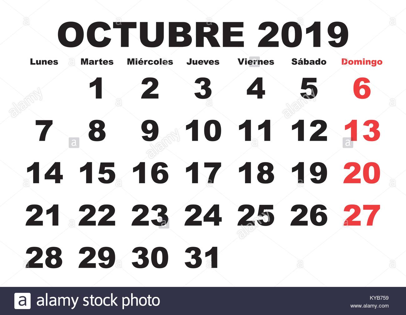 2019 October Calendar.October Month In A Year 2019 Wall Calendar In Spanish Octubre 2019