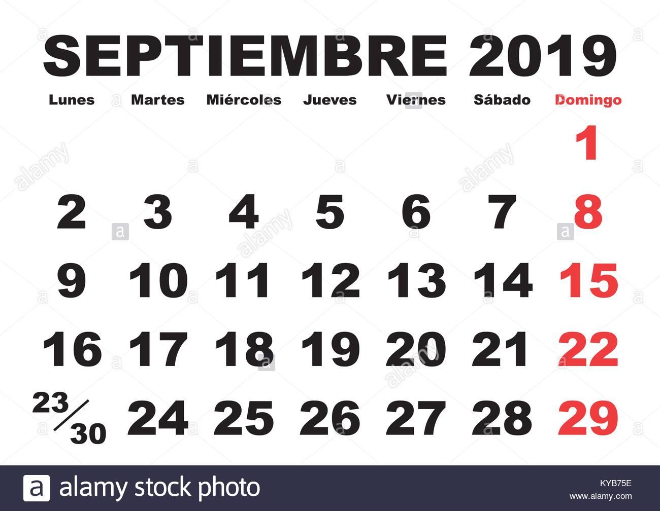 Calendario 18 19 Sep.September Month In A Year 2019 Wall Calendar In Spanish