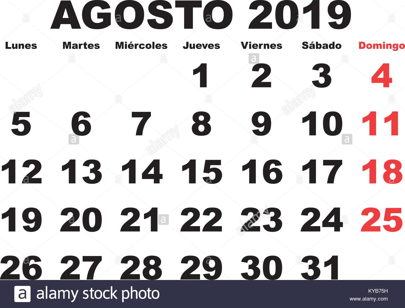 Calendario 2019 Mes A Mes.August Month In A Year 2019 Wall Calendar In Spanish Agosto 2019