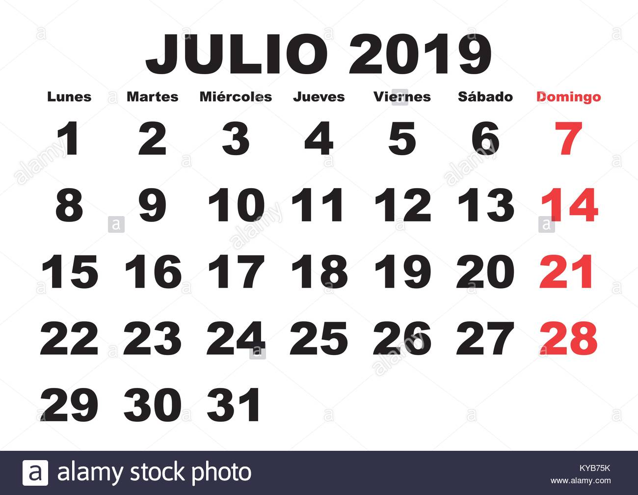 Julio 2019 Calendario.July Month In A Year 2019 Wall Calendar In Spanish Julio 2019 Stock