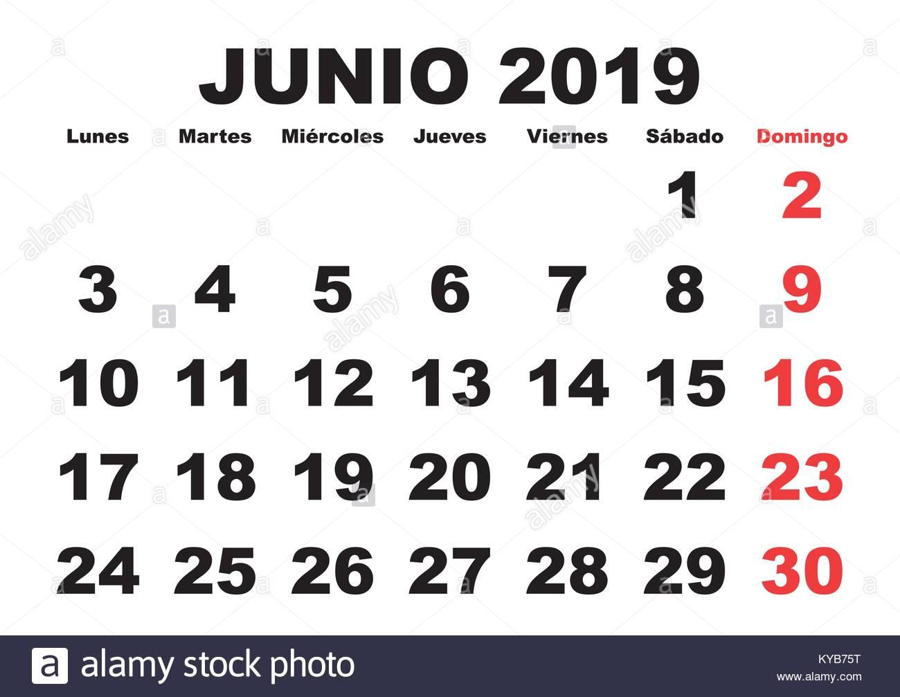 June month in a year 2019 wall calendar in spanish. Junio 2019. Calendario  2019