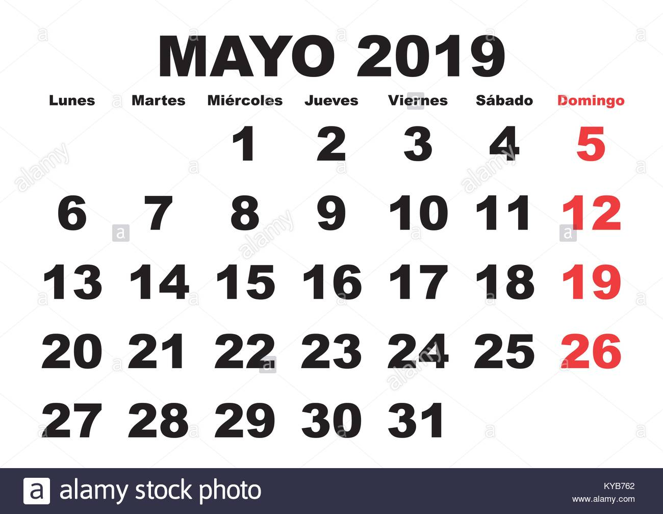 May Spanish Calendar : May month in a year wall calendar spanish mayo