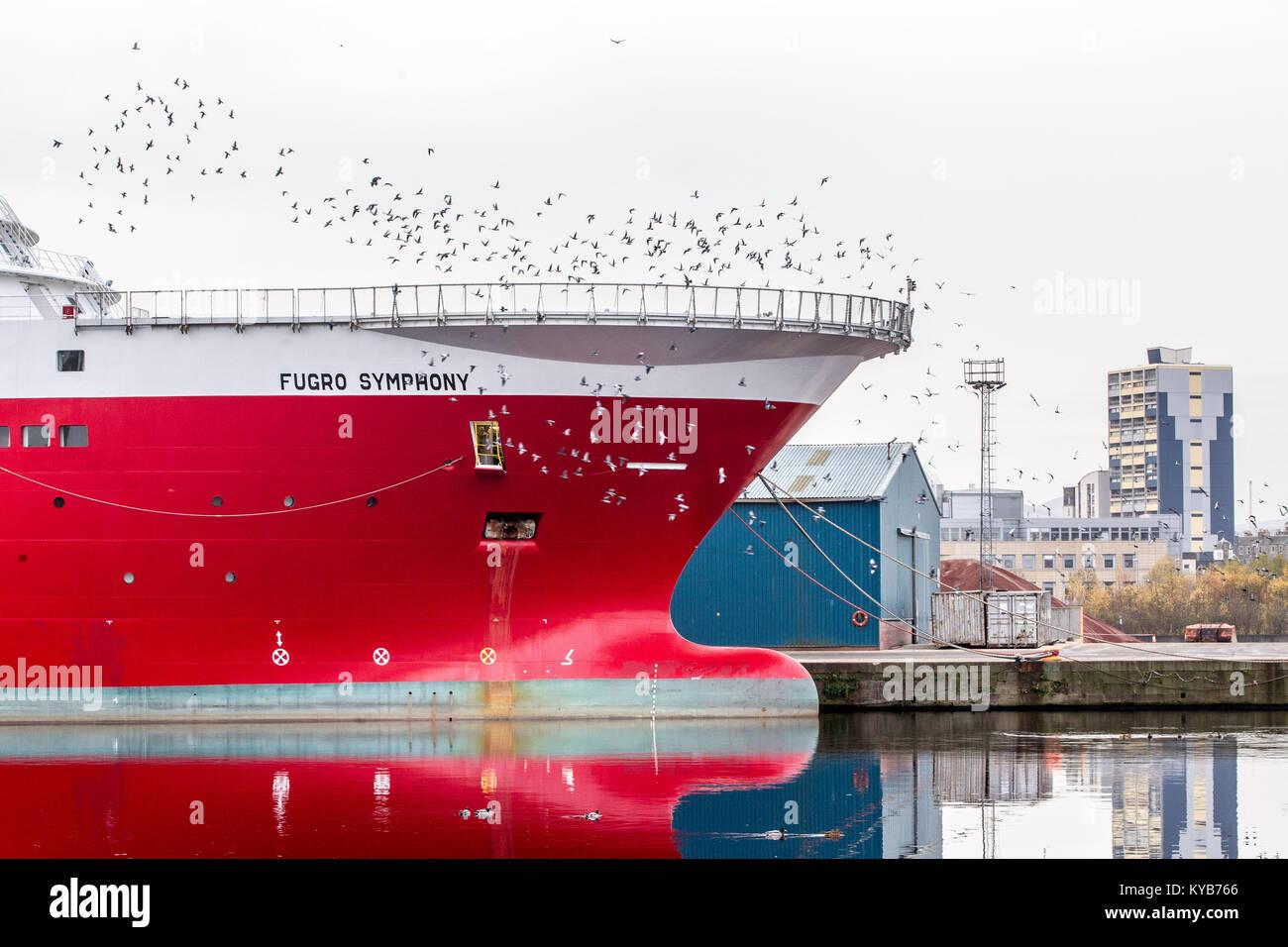 Leith Docks Edinburgh with various ships in dock Stock Photo
