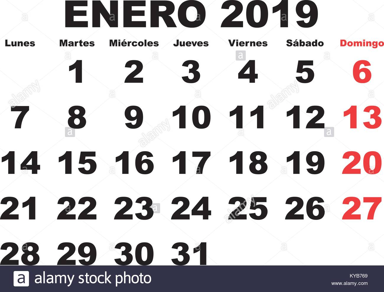 Calendario 2019 Mes A Mes.January Month In A Year 2019 Wall Calendar In Spanish Enero 2019
