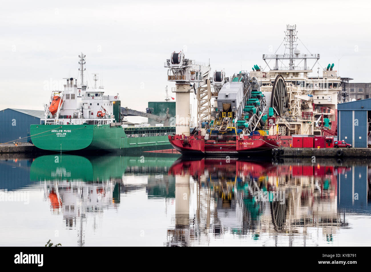 Leith Docks Edinburgh with various ships in dock - Stock Image