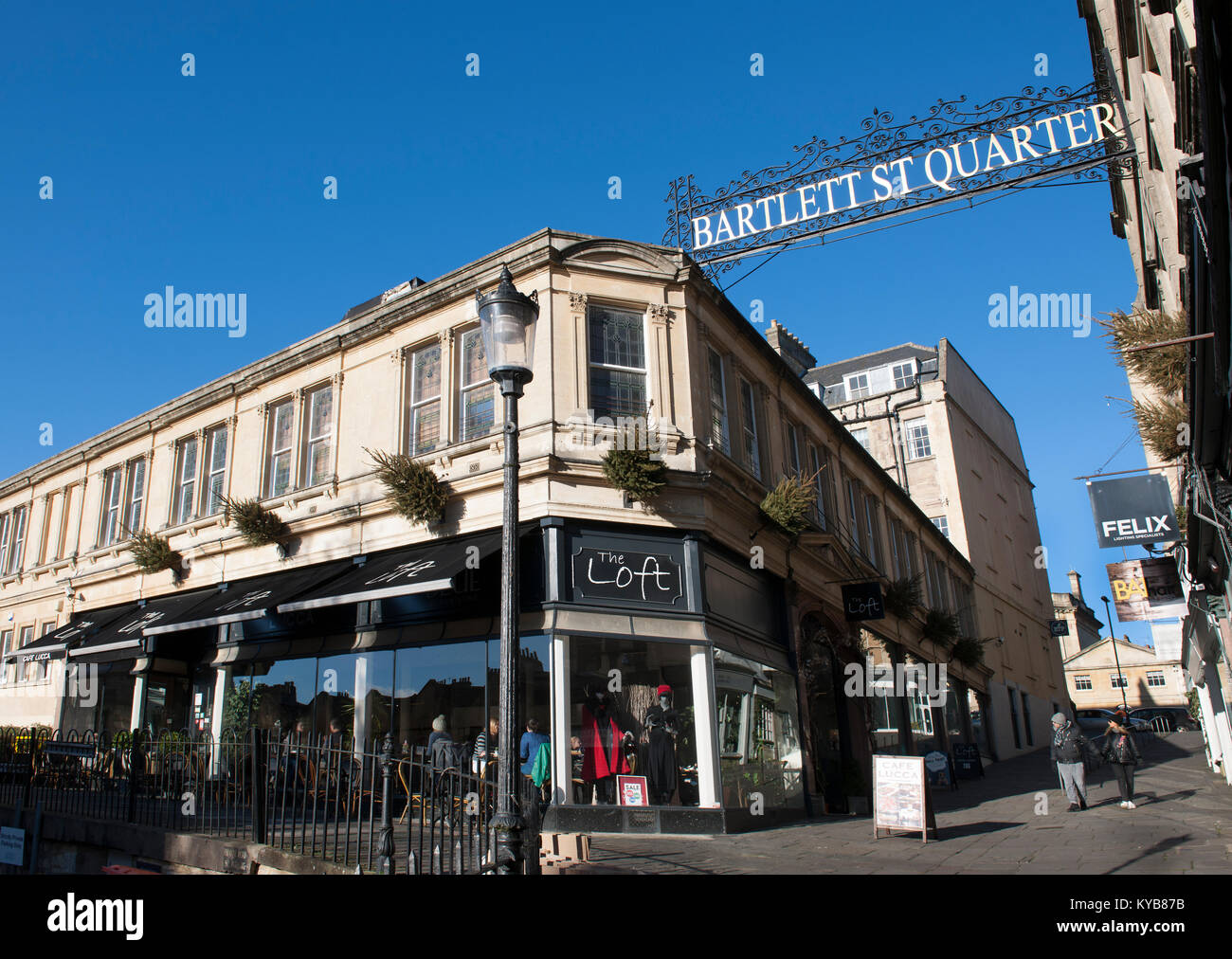 Bartlett St Quarter Shopping area, Bath, Somerset, England, UK - Stock Image