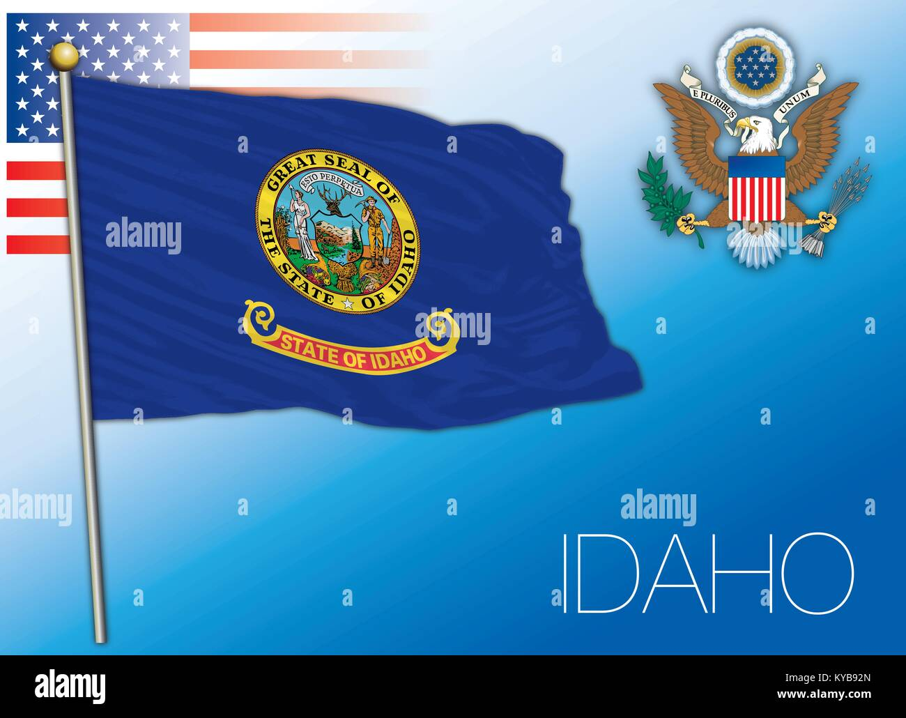 Idaho federal state flag, United States - Stock Vector