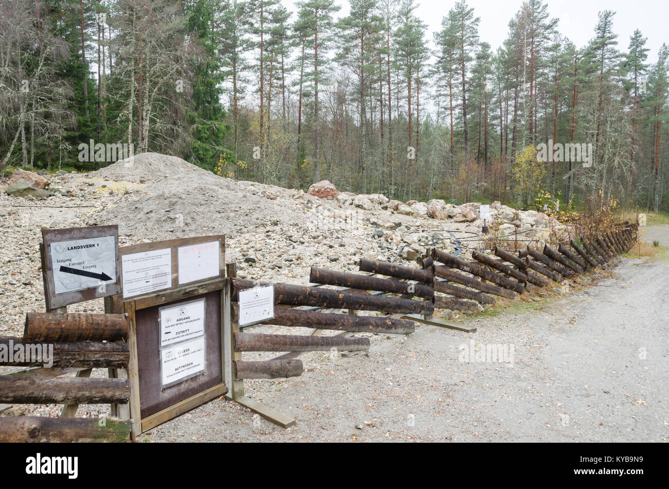 Mine dump of Landsverk 1 in Evje Mineralsti. Between the stones you can find some rare minerals and gemstones. - Stock Image